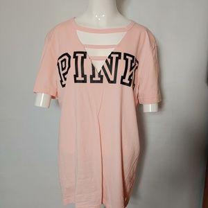 PINK! Strappy V Neck Short Sleeve Top Like New!